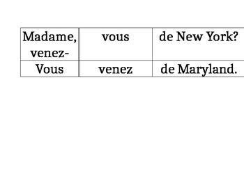 Sentence Strip/Domino Game verb Venir