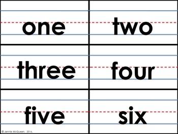 Number Words Cards- Sentence Strip Format (0-10): BONUS Ten frame cards