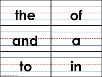 Fry First 100 List Sight Words: Sentence Strip Sight Words