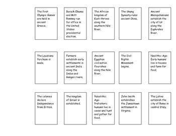 Sentence Strip Timeline Activity