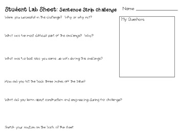 Sentence Strips: Engineering Challenge Project ~ Great STEM Activity!