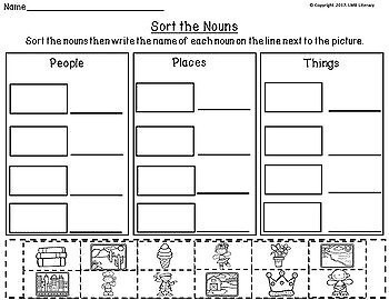 Parts of Speech Activities-Nouns Sentence Strips