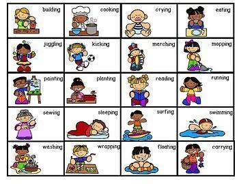 Parts of Speech Activity-Present Tense Verbs Sentence Strips