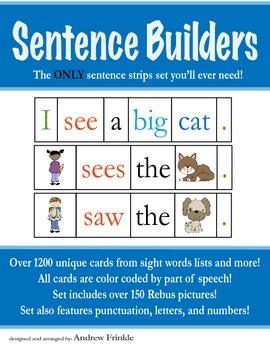 Sentence Strips - Over 1200 words all parts of speech rebu