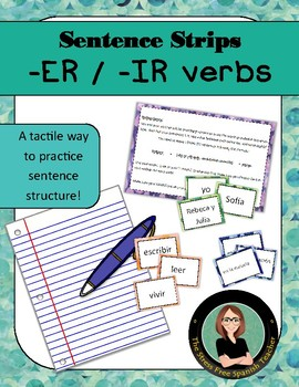 Spanish Sentence Strips - Sentence Structure Practice with -ER / -IR verbs