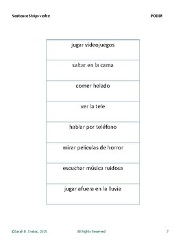 Sentence Strips- Spanish Sentence Structure Practice the verb PODER