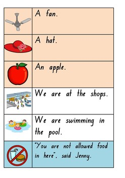 Sentence Strips for Beginning Readers - Three Different Levels