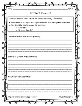 Sentence Structure {1.RF.1a}
