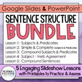 Sentence Structure {5 Lesson BUNDLE} Grammar PowerPointss & Printables