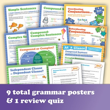 Sentence Structure Bundle: 160 Task Cards Plus Grammar Posters & Quiz
