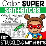 Writing Sentences Practice - Color Sentence Structure