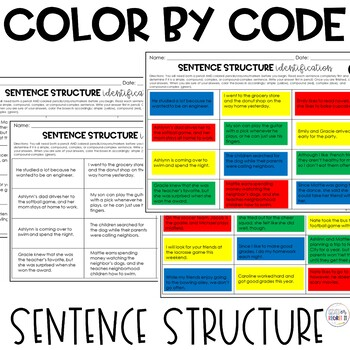 Sentence Structure: Color by Code: Simple, Compound, Complex, and Compound-Compl