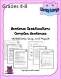 Sentence Structure:  Complex Sentences (Worksheets, Quiz,