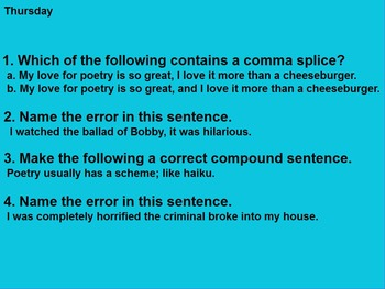 Sentence Structure Five Day Bell Ringer