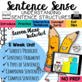 Sentence Structure Types of Sentences Activities Worksheet Interactive Notebook