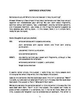 Sentence Structure Worksheets For High School: sentence structure high school thru adult lesson by eloiseart and ,