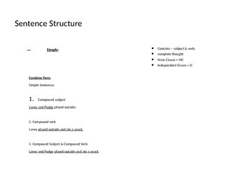 Sentence Structure Minilesson Notes