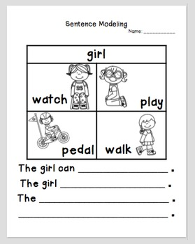 Sentence Structure Modeling Writing Activity