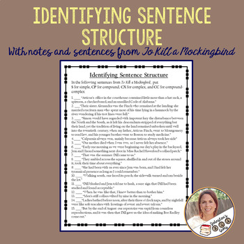 Sentence Structure Notes and Practice with To Kill a Mockingbird Examples