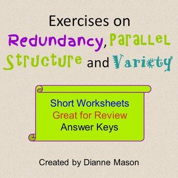 Parallel Structure Worksheet Teaching Resources Teachers Pay Teachers
