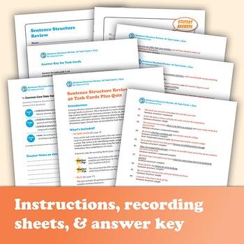 Sentence Structure Review: 40 Task Cards Plus Quiz