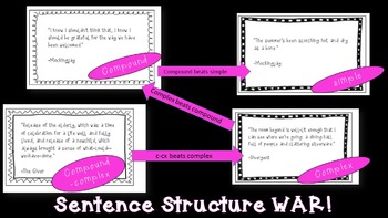 WAR (the card game) Sentence Structure Review