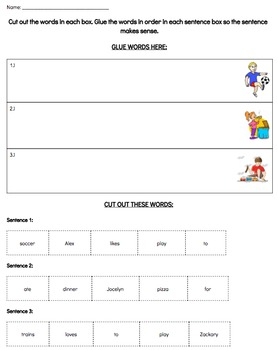 Sentence Structure Sorting Worksheet for Primary