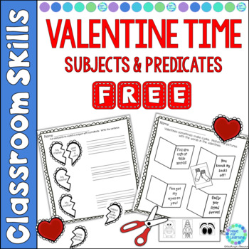 Sentence Structure Subjects and Predicates with Valentine Theme