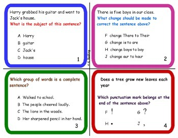 Sentence Structure Task Cards