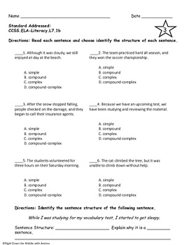 Sentence Structure Test Prep {Common Core Aligned}