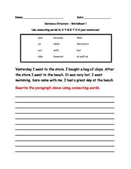 Sentence Structure - Using Connecting words