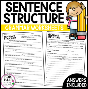 Sentence Structure Worksheets No Prep Printables By Pink Tulip