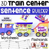 Sentence Writing - 3D Train Center - Sentence Builder with Flashcards