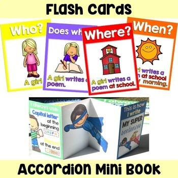 Sentence Writing Posters, Anchor Charts, Flash Cards and Mini Book