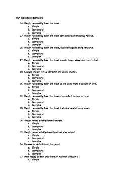 Sentence Structure and Parts of Speech Quiz