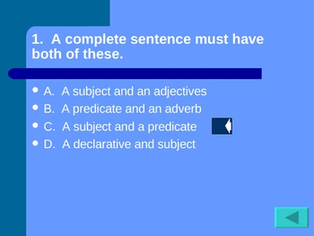Sentence Structure and Type Review Game