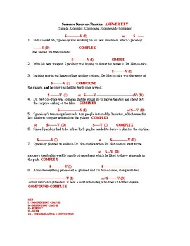 Sentence Structure Packet