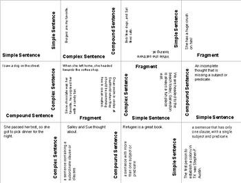 Sentence Structures Puzzle