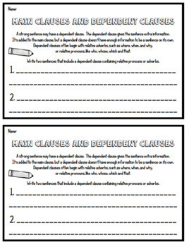 Sentence Subject, Predicate, Main Clause, Relative Clause -4th Grade Assessments