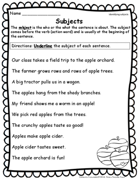 Sentence Subjects -- Apple Theme -- TEKS aligned