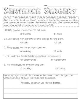Sentence Surgery- Noun Verb Agreement