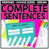 Writing Complete Sentences and Sentence Structure Distance Learning