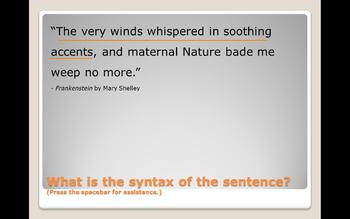 Sentence Syntax in Famous Works of Literature Practice Power Point