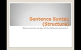 Sentence Syntax in Famous Works of Literature Practice Pow