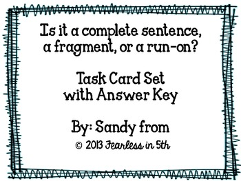 Sentence Task Cards (Complete. Fragment, Run-on) by ELA ...