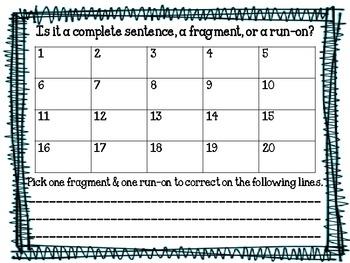 Sentence Task Cards (Complete. Fragment, Run-on)