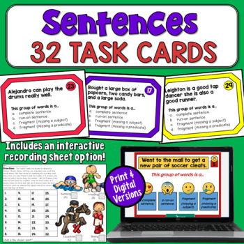 Sentence Task Cards: Complete, Run-on, or Fragment (incl. subjects & predicates)