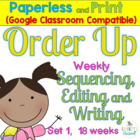 Sentence Task Cards: Order Up-Sequence, Edit, Write Print