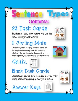 Sentence Task Cards with Free Quiz