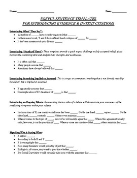 Sentence Templates for Introducing Evidence